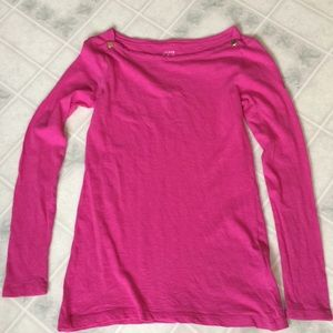 J crew Bright Pink Painter Tee Long Sleeve
